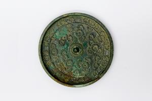 菊花双雀文鏡